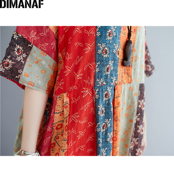 DIMANAF Summer Oversize Long Dress Women Clothing Print Floral Sundress Beach Elegant Lady Vestido Cotton Casual Loose Plus Size 6