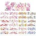 Наклейка с цветущим цветком и акварелью, слайдер с пружинными цветами, наклейка с полным покрытием, Слайдеры для маникюра, украшения, для 12 в...