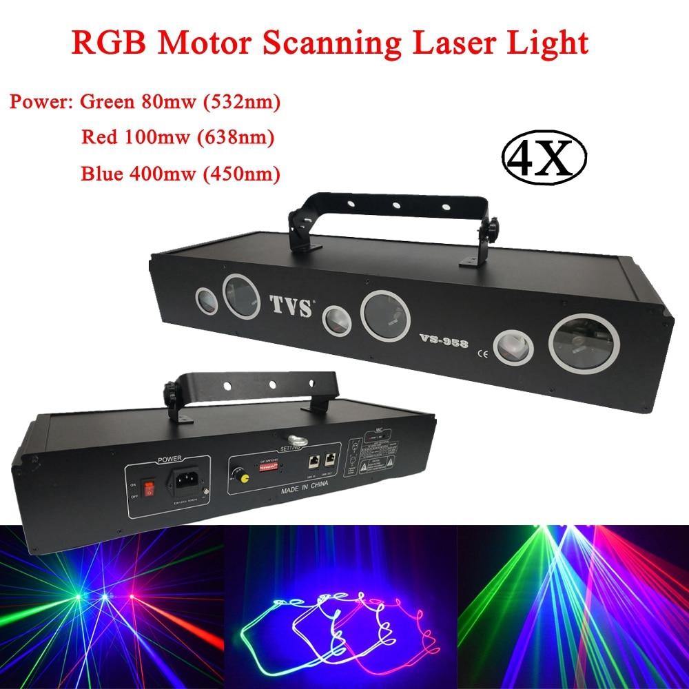 4Pcs/Lot RGB Motor Scanning Laser Beam Light Stage Lighting Effect Projector Lights DJ Dance Bar Xmas Party Disco Show Lamp