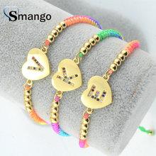 Wholesale Copper Micro Pave CZ Heart Shape Letters Charm Bracelet In Gold Colors Top Quality Plating of 5 Pcs,B0058