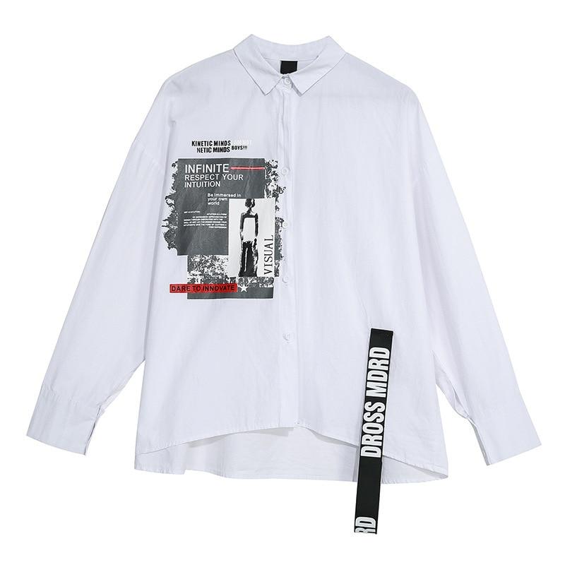LANMREM 2020 Spring Summer Fahion Letter Print Long Sleeve Irregular Shirt Oversize Black White Blouse Women Personality YH724