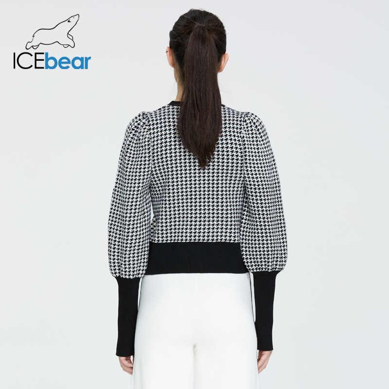 Icebear 2020 봄 새로운 유럽과 미국의 패션 여성의 복고풍 houndstooth 둥근 목-긴팔 스웨터 셔츠 AW-002