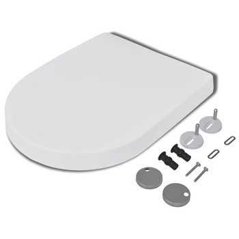 Universal Toilet Seat Lid PP Board White U Type Replacement Thickened Slow-Close Cover Household Accessories
