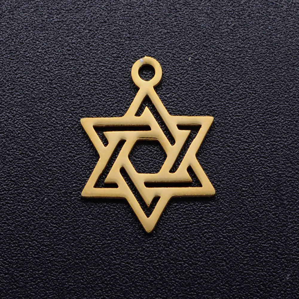 5 Pcs/lot Diy Bintang David Stainless Steel Pesona Liontin Grosir Golden Sun Hamsa Tangan Perhiasan Gelang Konektor Pesona