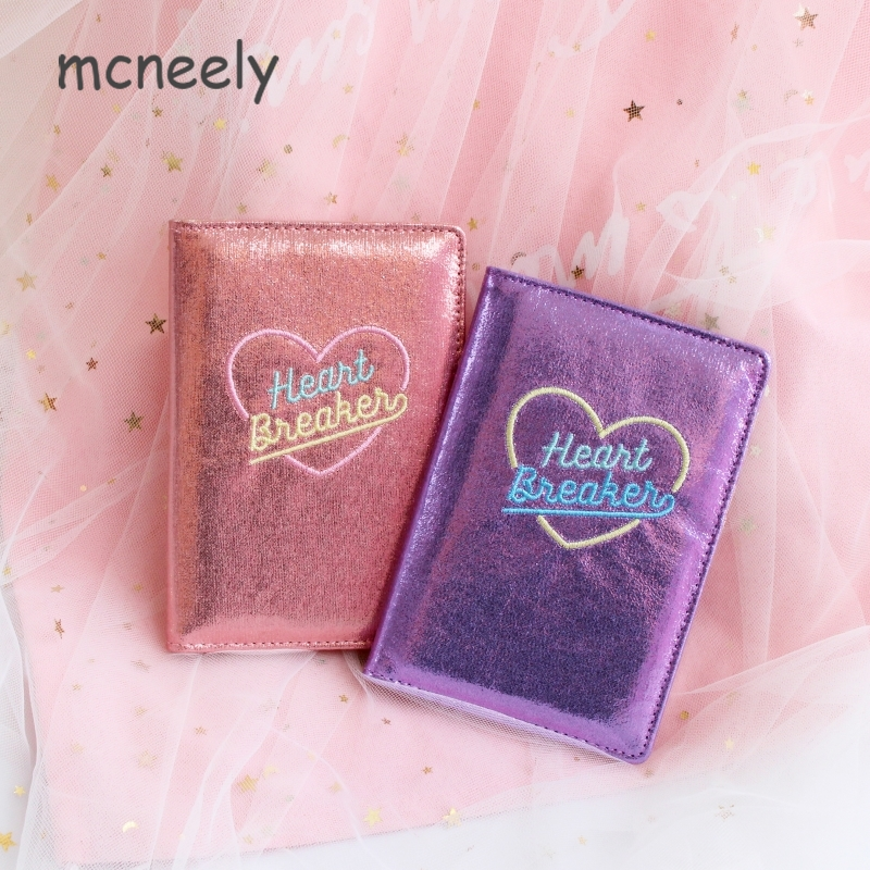 Embroidery Passport Cover Unisex Rfid High Quality PU Leather Cards Passport Holder Heart Breaker Passport Case Wallets 4 Color