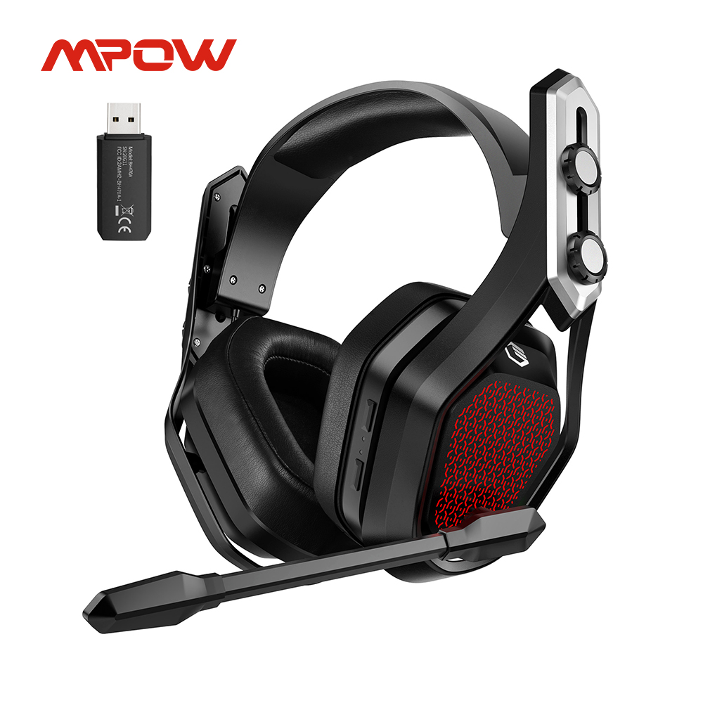Беспроводная игровая гарнитура Mpow Iron Pro, USB/3,5 мм наушники с шумоподавлением, микрофоном, 3D объемное воспроизведение 20 часов, для PS5, PS4, ПК, гей...