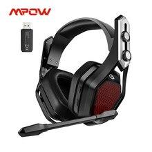 Mpow ferro pro sem fio gaming headset usb/3.5mm fone de ouvido com cancelamento de ruído mic 3d surround 20h reprodução para ps5 ps4 pc gamer
