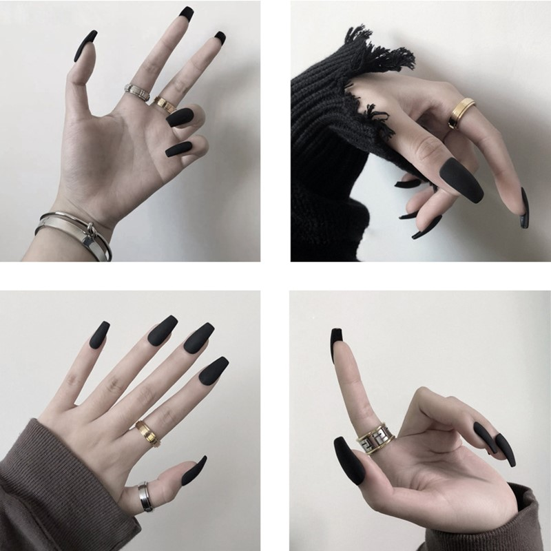 Matte Rot Schwarz Weiß Falsche nägel mit Nagel verlängerung Fingernägel gefälschte nagel liefert für profis DN03
