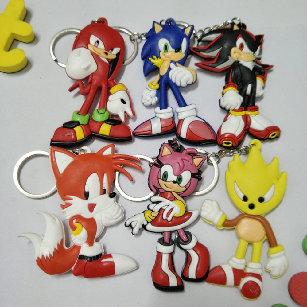 Sonic The Hedgehog Cartoon PVC Keychain Cute Funny Double-sided Soft Rubber Pendant Keyring Jewelry Llaveros Chaveiros Kids Toy