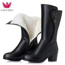 Women Knee High Winter Boots Natural Wool Fur Warm Shoes Women High Heels Microfiber Leather Shoes Handmade Snow Boots Footwear цена