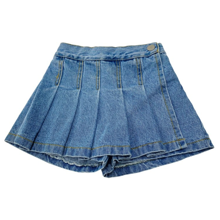 Summer girls denim shorts baby skirts with horts kids fake skirt children bottoms fashion pleated ruched jeans 1 to 7 yrs 1