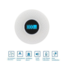 цена на High Sensitive Smoke Carbon Monoxide Detector CO Smoke Alarm With Voice Warning LCD Light Alarm For Home Office Security 1pcs
