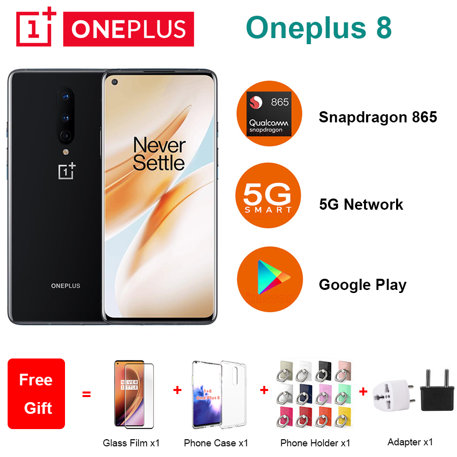 """New Oneplus 8 5G Mobile Phone 6.55"""" 8/12GB RAM 128/256GB ROM Snapdragon 865 Octa Core 48MP Camera Android 10.0 NFC Smart Phone"""