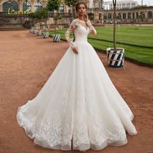 Loverxu Scoop Ball Gown Wedding Dresses 2019 Glamorous Applique Long Sleeve Button Bride Dress Court Train Bridal Gown Plus Size