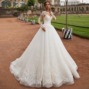 Image 1 - Loverxu Scoop Ball Gown Wedding Dresses 2019 Glamorous Applique Long Sleeve Button Bride Dress Court Train Bridal Gown Plus Size