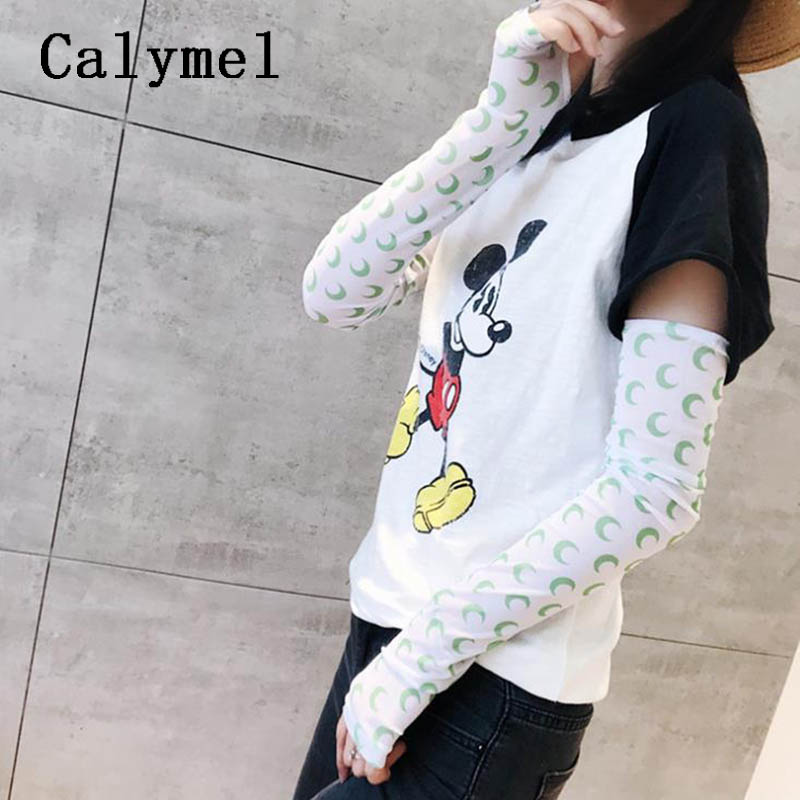 Calymel Summer Sweet Cute Sleeves Ice Sunscreen Sleeve Outdoor Riding Long Gloves Sun UV Protection Hand Protector Wholesale