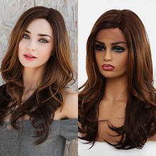 TINY LANA Long Wave Lace Wigs for Black Women Afro Lace Front Brown Black Heat R