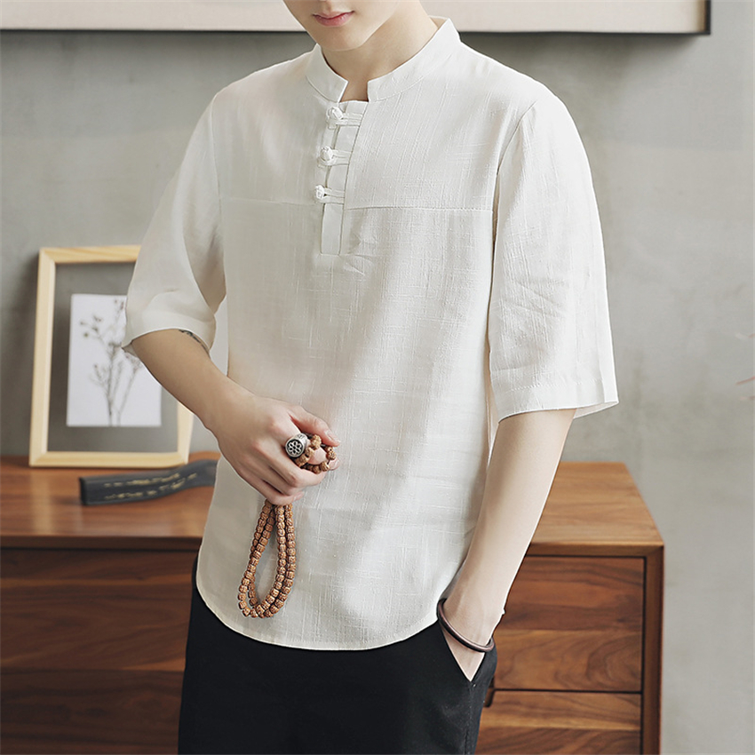 2020 Summer Chinese Shirts Hanfu Traditional Chinese Clothing For Men Asian Clothes Cheongsam Top Tai Chi Male Tangsuit