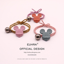 EUHRA New Shape Mickey Minnie Head With Shine Ball For Women Girls Elastic Hair Bands Kid Children Rubber Strong