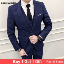 MenS Suit Three-Piece High-Quality Business Casual Fashion Simple Classic Work Banquet