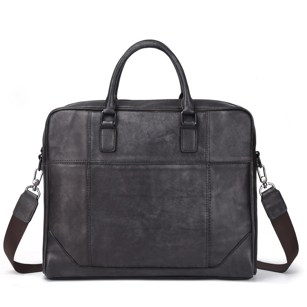 Nesitu Highend Black Coffee A4 Genuine Leather 14'' Laptop Office Women Men's Briefcase Portfolio Business Messenger Bag M8109