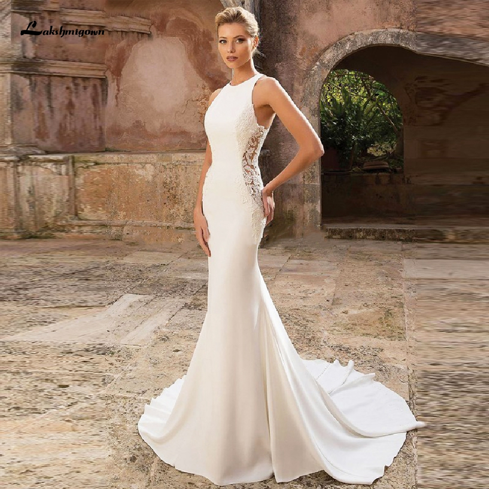 Lakshmigown Ivory Satin Dress Mermaid Wedding Gowns 2020 Vestido De Novia Boho Chic Bridal Gowns Long Train Side Illusion Lace