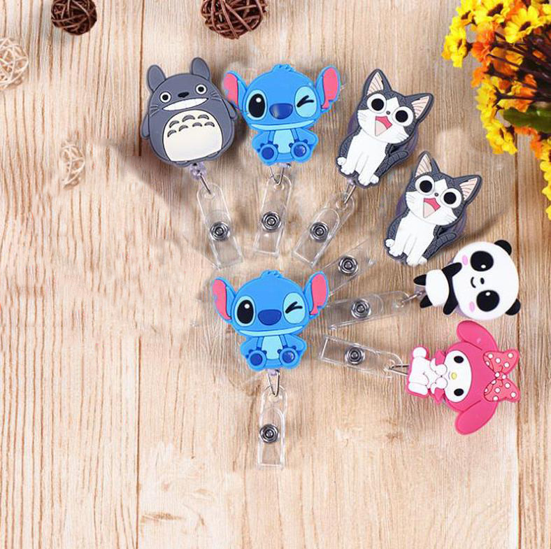 1 Pcs Cute Stitch Totoro Captain American Cat Retractable Badge Reel Exhibition ID Card Clips Badge Holder Stationery