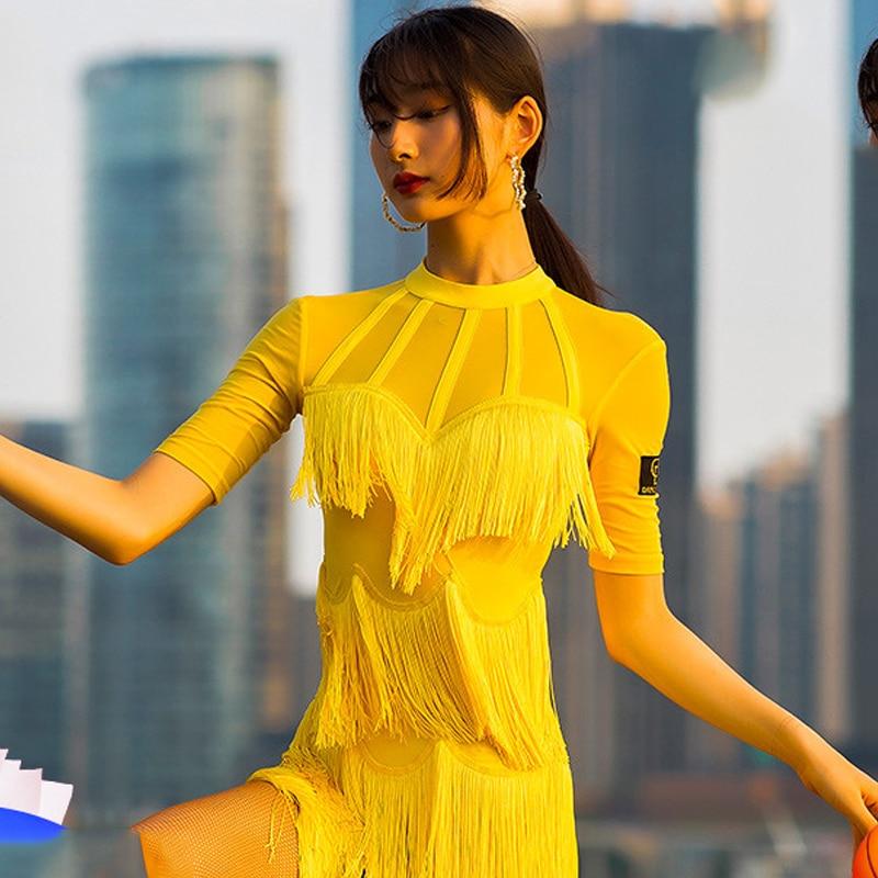 New Latin Dance Dress Adult Performance Fringe Dress Yellow Salsa Dress Chacha Dress Dance Costume Stage Latin Dresses BL2464