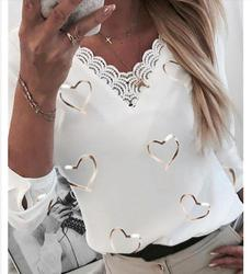 Elegant V-Neck Long Sleeve Blouse Shirt Women Print Casual Shirts Fashion New Style Streetwear Women Tops Pullover