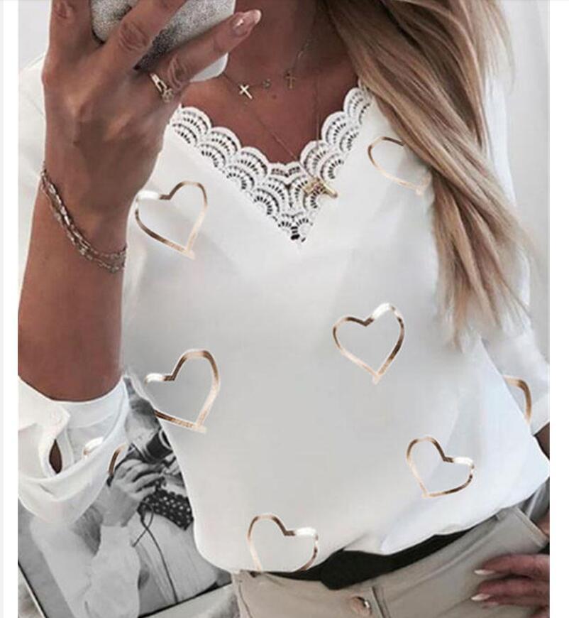 Элегантная блузка с V-образным вырезом и длинным рукавом, рубашка, женские повседневные рубашки с принтом, модная уличная одежда, женские то...