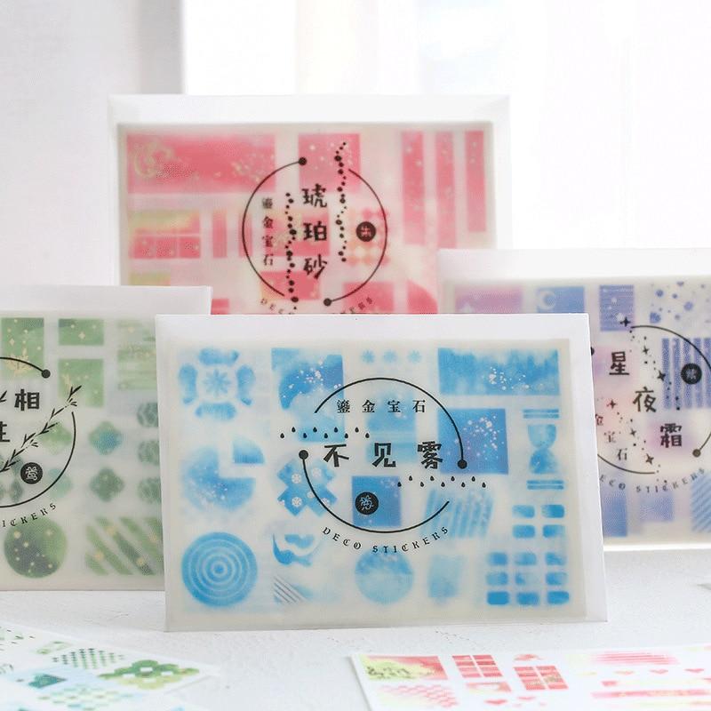 Mohamm 8 Pcs Sheet Metal Gemstone Series Journal Stationery Flakes Scrapbooking DIY Decorative Stickers