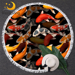 BlessLiving Koi Carps Beach Towels For Adults Red Golden Lucky Fish Bath Towel Colorful Tapestry Auspicious Round Towel Toalla