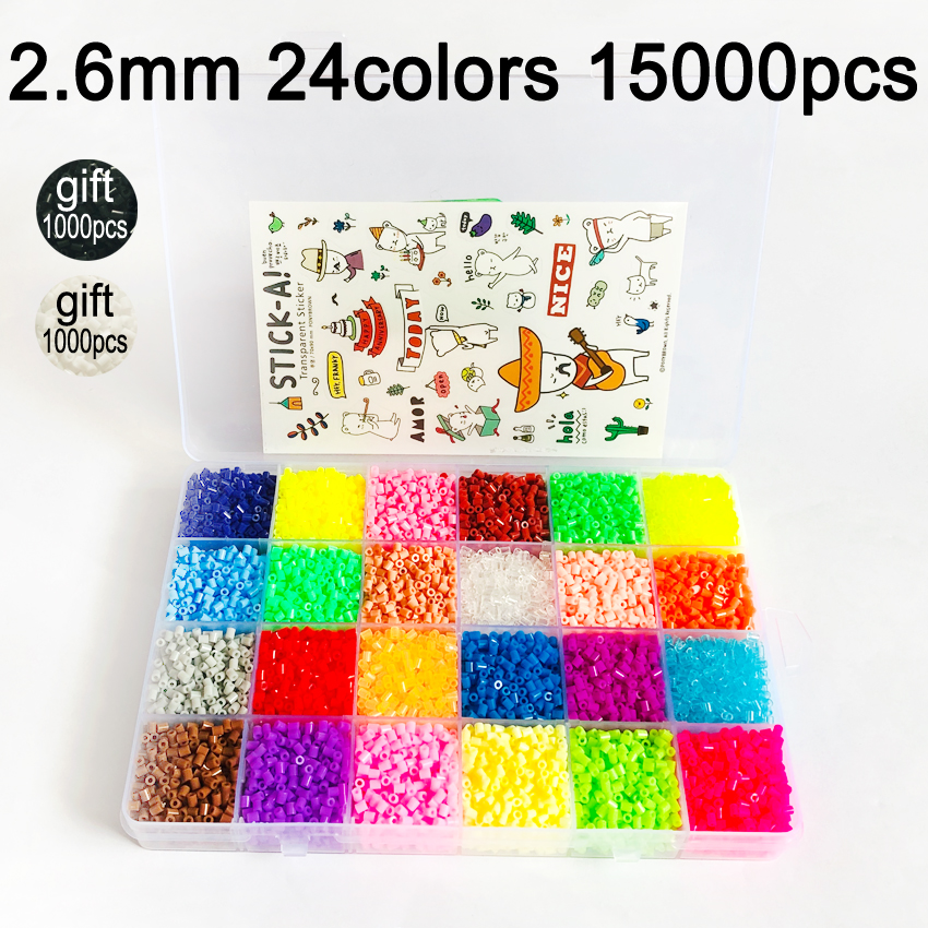DOLLRYGA Jouet Enfant 2.6mm Mini Hama Beads 15000Pcs 24colors Perler Kids Toys Available Guarantee Bead Activity Fuse Beads Lote