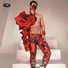 New arrival czerwona róża dżetów crystal print body kobiety mężczyźni parkiet impreza przebierana klub kobieta program muzyczny wydajność