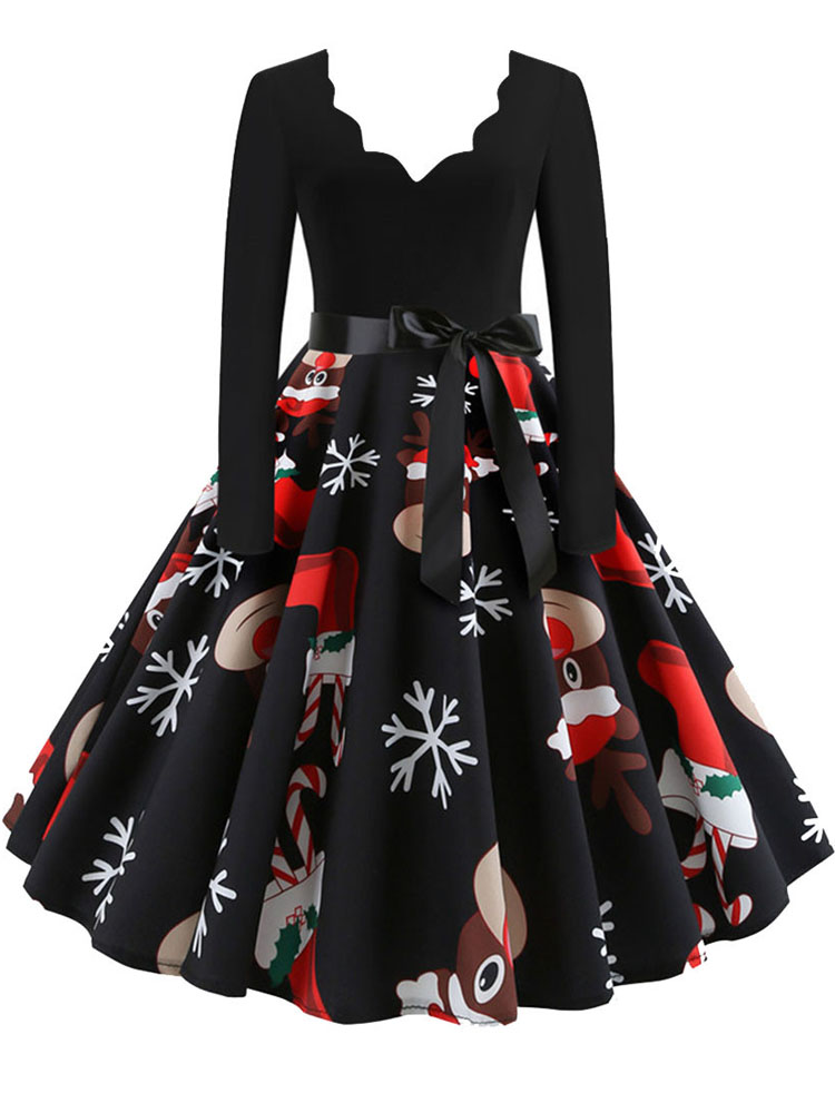 Christmas-Dress Swing-Print Long-Sleeve Black Vintage Sexy V-Neck Plus-Size Women Winter