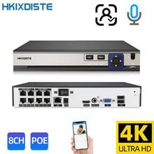 HKIXDISTE-Grabadora de vídeo de red, sistema Onvif P2P de 8 canales, 4K, NVR POE, reconocimiento facial, H.265 + Onvif, cámara de grabación IP 24/7