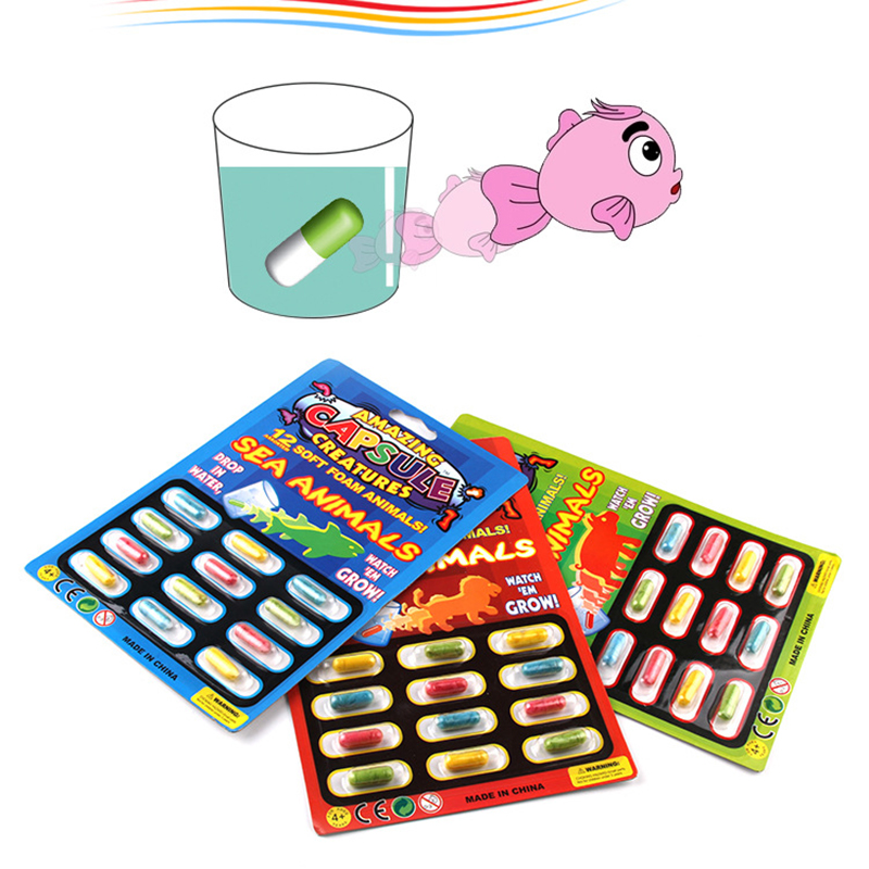 12pcs Grow Water Absorption Larger Pill Capsule Various Inflatable Expansion Toy Colorful Puzzle Creative Kids Toys H