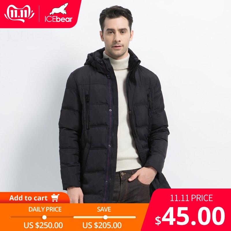 ICEbear 2019 Top Quality Warm Men's Thick Medium Long Coat  Warm Winter Jacket  Windproof  Casual OuterwearMen Parka 16M899D
