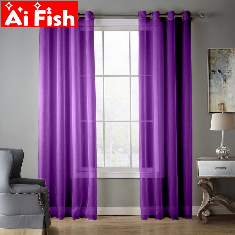 Dark Purple European and American Style Window Screening Solid Door Curtains Drape Panel Sheer Tulle For Living Room AP184#30