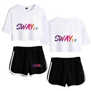 Social Platforms Sway House Logo Internet celebrity 2D Print Women Two Piece Set Shorts+lovely T-shirt Hot Sale Clothes