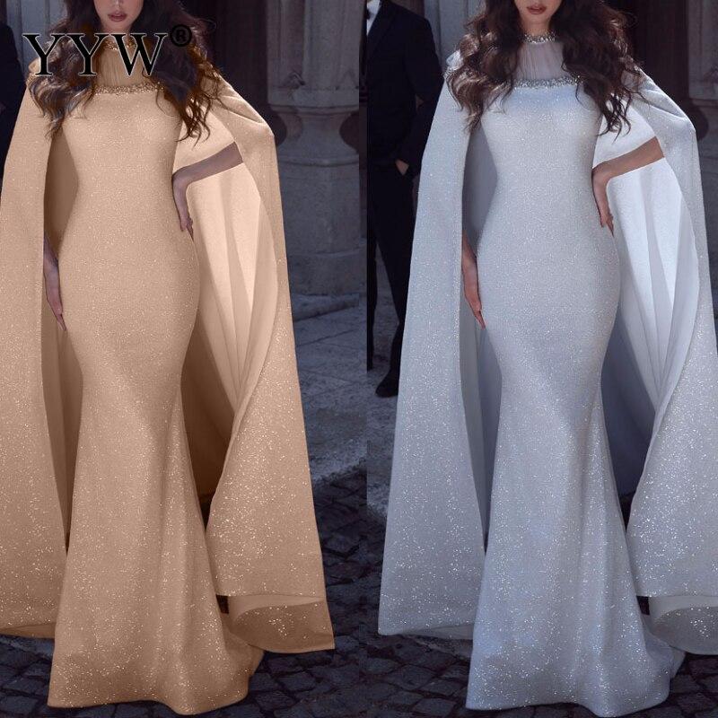 Cloak Cape Queen Long Maxi Dress 2019 Women Mermaid Diamonds Mesh Bodycon Party Dress Shining Sparkly Elegant Floor Length Dress
