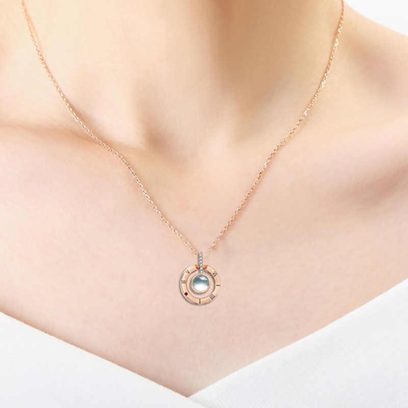 Oro Rosa 100 Lingue I Love You Pendente Della Collana per Le Donne Dei Monili di Amore di Memoria di Proiezione di Cerimonia Nuziale Della Collana di San Valentino Giorno