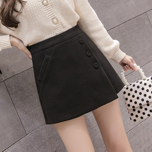 Image 3 - 2020 New Fashion Single breasted Plaid Shorts Skirts Womens Korean Vintage Woolen Shorts Autumn Winter Casual Culottes