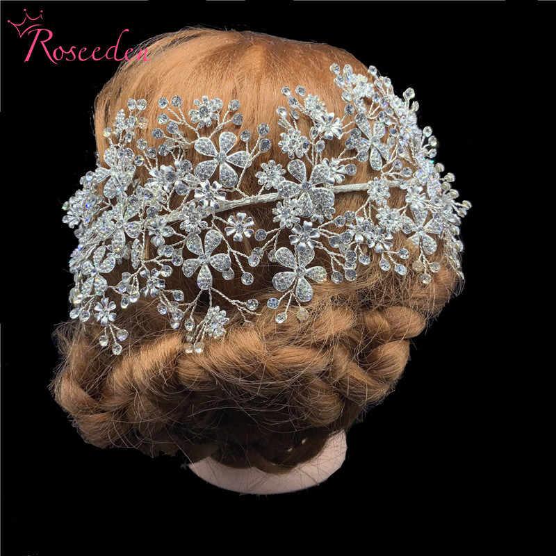 Elegante Braut Kristall Stirnbänder Silber Strass Tiara Hair Kopfschmuck Frauen Handgemachte Hochzeit Haar Zubehör RE3538