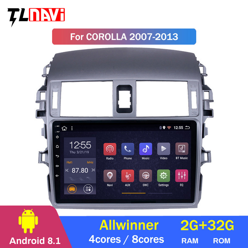 Car Multimedia Video Player Navigation GPS Android 8.1 For <font><b>Toyota</b></font> <font><b>Corolla</b></font> 2008 2013 <font><b>E150</b></font> 140 Navigation wifi radio image