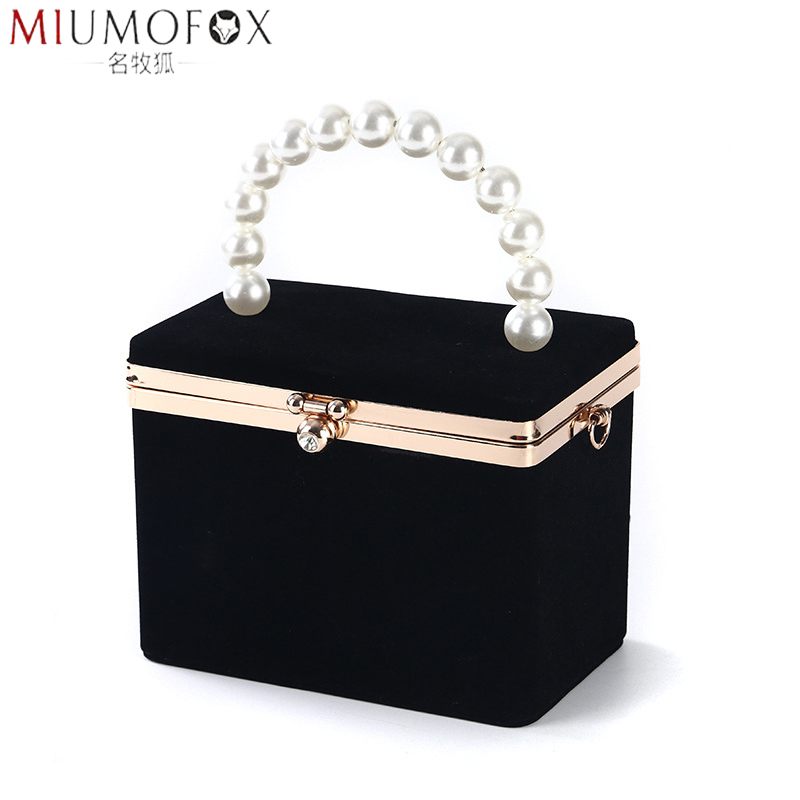 Fashion Tote Bag Handmade Velour Box Bag Dubai Women Girl Pearl Clutch Evening Party Handbag Lady Jewel Case 2020 New Summer Bag