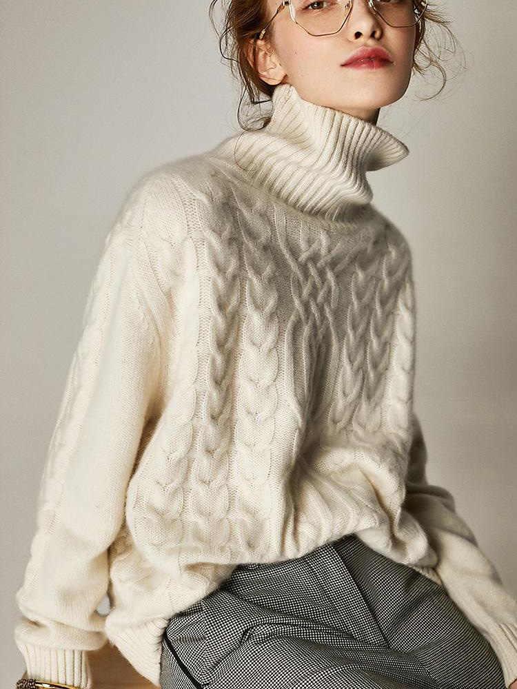 100% 캐시미어와 양모 니트 점퍼 여성 느슨한 겨울 & 가을 두꺼운 따뜻한 스웨터 숙녀 터틀넥 풀오버 여성 의류