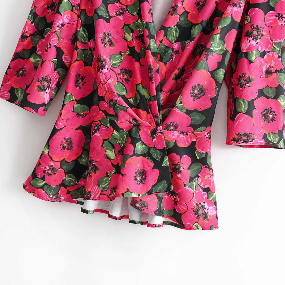 ZA Women's Wear Summer 2019 New Loose V-collar Seven-minute Sleeve-back Printed Shirt Blouse 07635023800