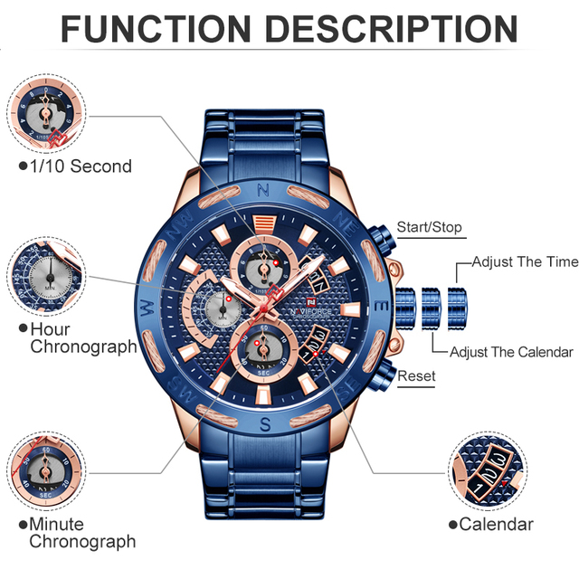 NAVIFORCE Top Brand Men Fashion Gold Watches Men's Waterproof Full Steel Quartz Watch Waterproof Male Clock Relogio Masculino 3