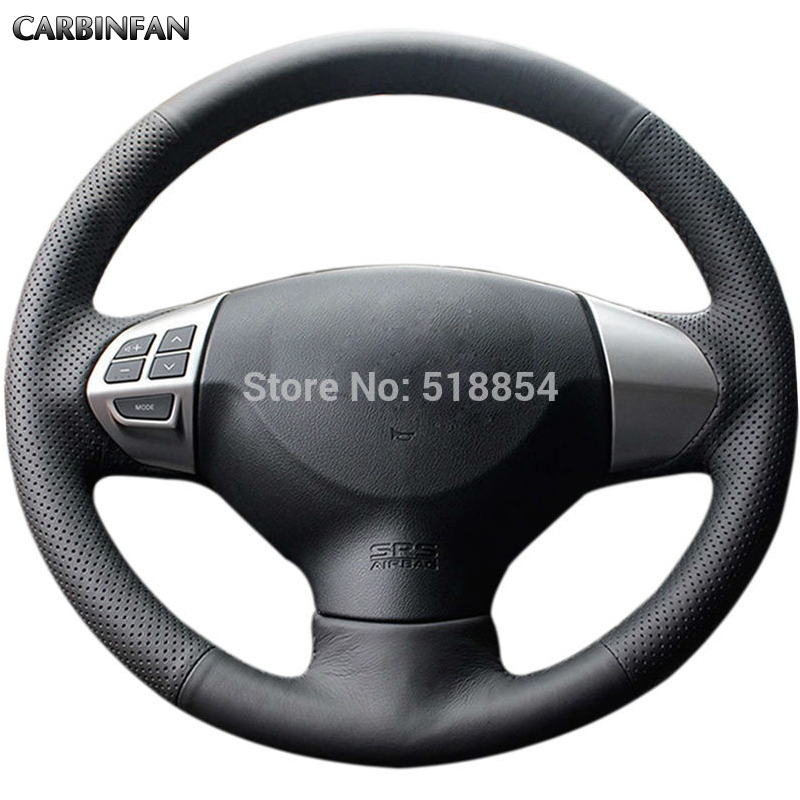 Shining wheat Black Artificial leather Steering Wheel Cover for Mitsubishi Lancer EX 10 Lancer X Outlander ASX Colt Pajero Sport